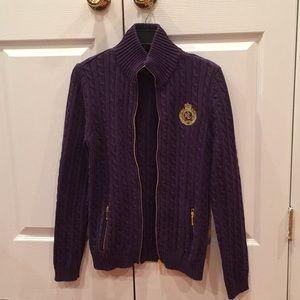 EUC Ralph Lauren cable knit zip sweater size L